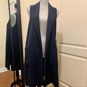 Zara navy blue duster vest
